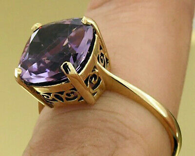 AU320.19 • Buy R224 Genuine 9ct 9K Solid Gold Natural Purple Amethyst Cushion Solitaire Ring