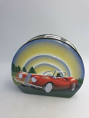 Ringtons Novelty Retro Revival Sweets Tin Embossed Red Classic Car Travel Labels • 9.99£