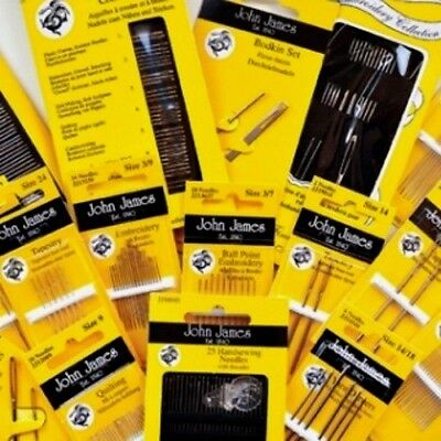 John James Hand Sewing Needles - All Needle Styles, Sizes & Threaders Available • 2.75£