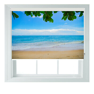 Beach Sea View Palm Printed Photo Black Out Roller Blinds 2 3 4 5 6ft • 65£