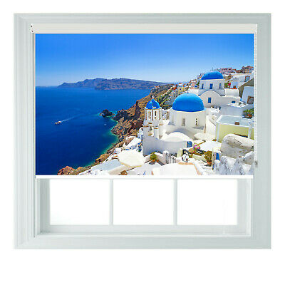 Santorini Greece Sea View Printed Photo Black Out Roller Blinds 2 3 4 5 6ft • 75£