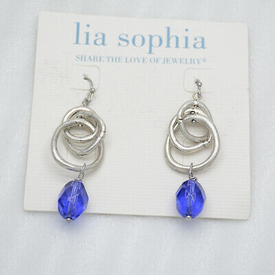 $ CDN10.37 • Buy Lia Sophia Jewelry Antique Silver Tone Knot Chunky Blue Acrylic Hoop Earrings