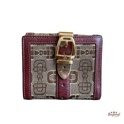 $125 • Buy Authentic Vintage GUCCI Burgundy Canvas Leather Bifold Wallet 146203