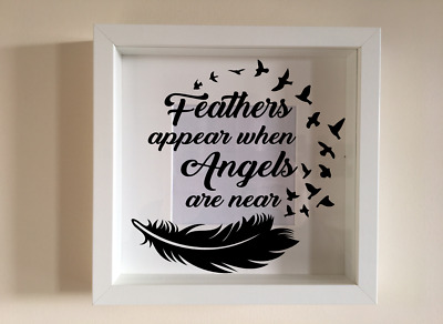 £2.99 • Buy Box Frame Vinyl Decal Sticker Wall Art Quote Feathers Appear When Angels Doves
