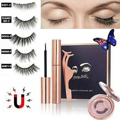AU9.93 • Buy Magnetic Eyelashes Natural Eye Lashes Extension Liquid Eyeliner Tweezer Gift Box