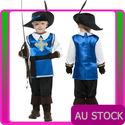 Boys Musketeer Child Costume Medieval Renaissance French Cavalier Kids Book Week • 14.04£