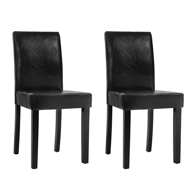AU91.81 • Buy Artiss Set Of 2 Dining Chairs PU Leather Padded High Back Wood Cafe Kitchen Blac