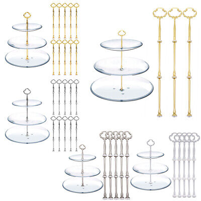 £10.99 • Buy 3/5/10 Set Cake Plate Stand 3 Tier Handle Holder Fitting Tea Wedding Party Rod