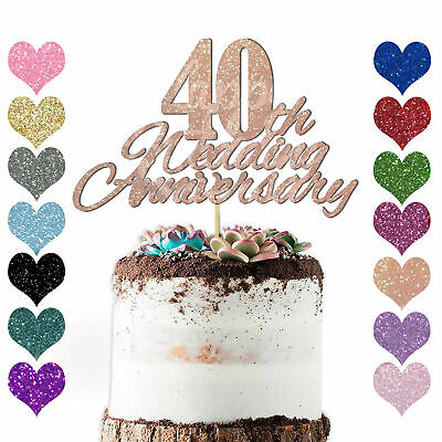 Personalise Any Year Wedding Anniversary Cake Topper Decoration 10th 20 30 40 50 • 2.98£