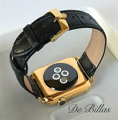 $ CDN971.83 • Buy 24K Gold Plated 42MM Apple Watch SERIES 3 With Black Alligator Band GPS+CELLULAR