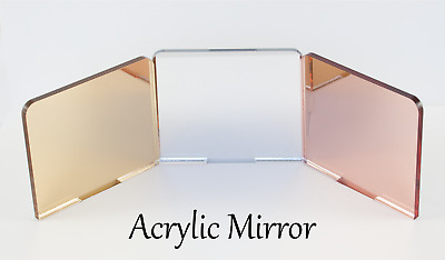 MIRROR ACRYLIC SHEETS SILVER, GOLD, ROSE GOLD, BRONZE, GREY, 3mm, 100mm - 600mm • 24.95£