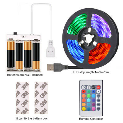 $14.72 • Buy LED Strip USB+Battery Powered TV Decking Kitchen Flexible RGB Rope Light 1-5m