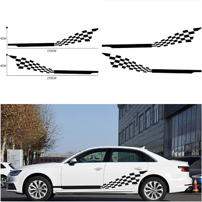 $16.88 • Buy 2 PCS Car Both Side Stripes Decals Stickers Auto Vinyl Graphics Checkered Flag