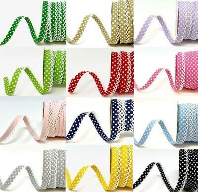 Polka Dot 12mm Pre-Fold Lace Edge Cotton Bias Binding - Per Metre Or 25m Roll • 1.78£