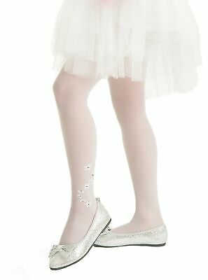 £3.65 • Buy Girls Summer Sheer White Tights Delicate Flowers Ankle Pattern Liwia Knittex