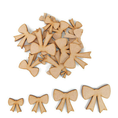 Ribbon Bow MDF Craft Shapes Wooden Blank Gift Tags Decoration Wedding Christmas • 1.85£