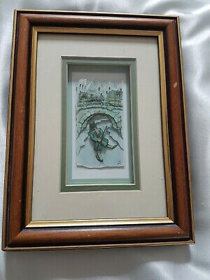 £9.99 • Buy  IN THE FRAME  Beautiful 3D Decoupage Picture Framed Gentleman Old City Signed
