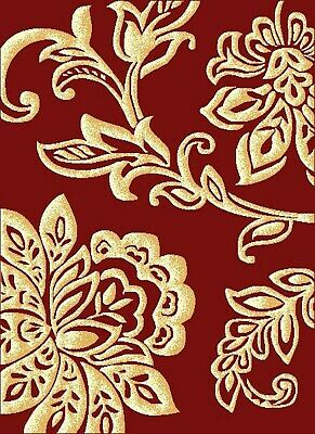Red Floral Rug Gold Lotus Soft Low Pile Modern Contemporary Design Any Room • 21.95£
