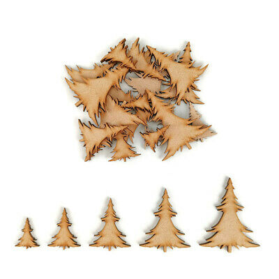 Pretty Christmas Tree MDF Craft Shapes Wooden Blank Gift Embellishment Pack  • 2.15£