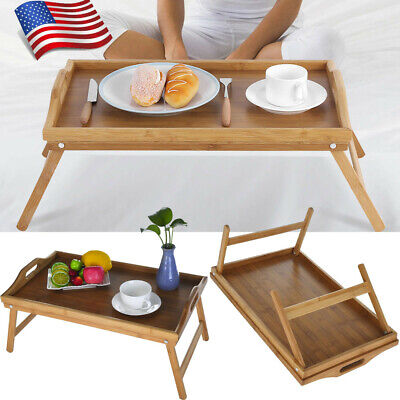 $18.88 • Buy New Portable Bed Tray Breakfast Desk Serving Table Computer Folding Legs Bamboo