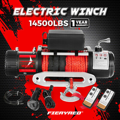 AU399.95 • Buy FIERYRED Electric Winch 14500LBS 12V Synthetic Rope Wireless Remote 4WD 4x4