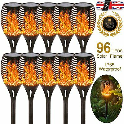 6X 96 LED Flame Solar Torch Light Waterproof Flickering Dancing Path Garden Lamp • 12.99£