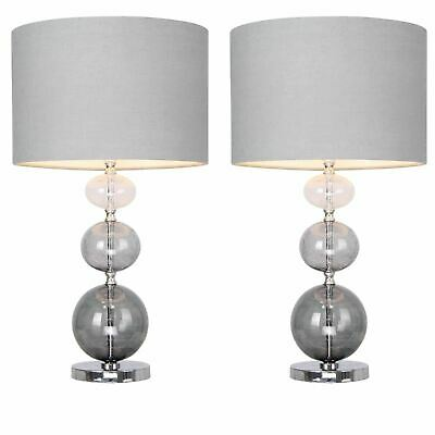 £84.99 • Buy Pair Of Modern Three Ball Ombre Glass 53cm Table Lamp Bedside Grey Linen Shades