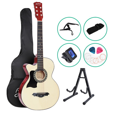 AU69.78 • Buy ALPHA 38 Inch Wooden Acoustic Guitar Left Handed With Accessories Set Natural Wo