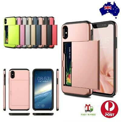 AU11.95 • Buy Shockproof Protective Phone Case With Hidden Credit Card Holder Cover For IPhone