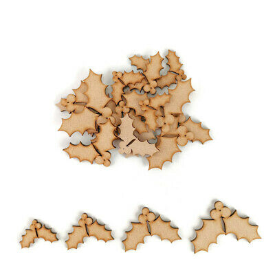 Holly Leaves MDF Craft Shapes Wooden Decoration Christmas Embellishments Berries • 2.15£