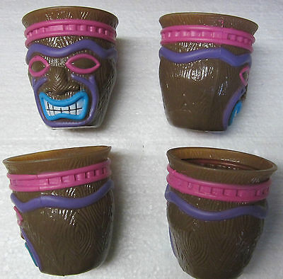 *4 TIKI CUPS-3 Inch Tall/2 1/2 Wide- Kids  Luau Birthday Party Favors  • 2.07£