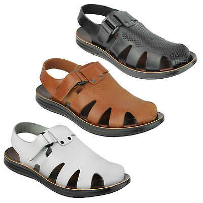 Mens Real Leather Strap Sandals Roman Gladiator Style Beach Holiday Walking Mule • 19.99£