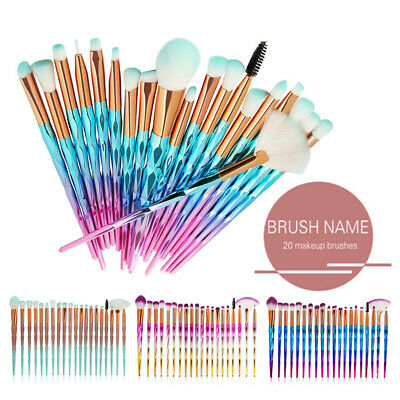 AU14.37 • Buy 20PCS Diamond Unicorn Eyeshadow Eyebrow Blending Brush Set Eye Make-up Brushes