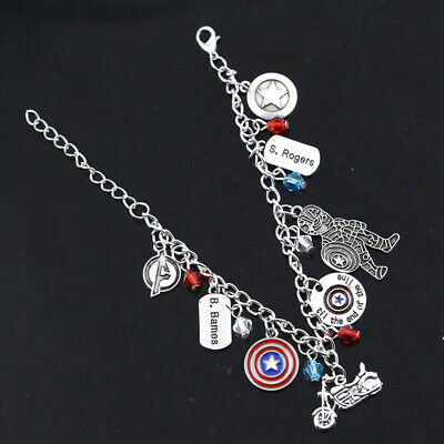 Captain America Themed Charms Bracelet Winter Soldier The Avengers Gift Bag Box • 5.99£