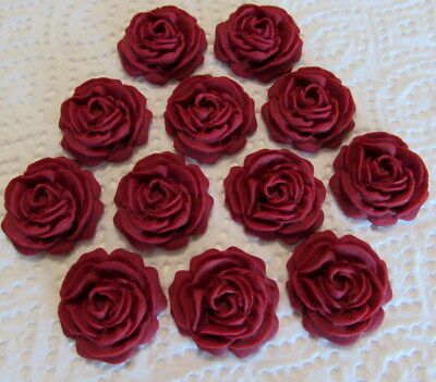 12 Ruby Red Roses Flowers Edible Cake Toppers Wedding,Cupcake,Birthday, • 4.25£