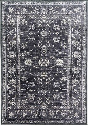 £29.95 • Buy Charcoal Grey Rug Classic Vintage Design Traditional Faded Distressed