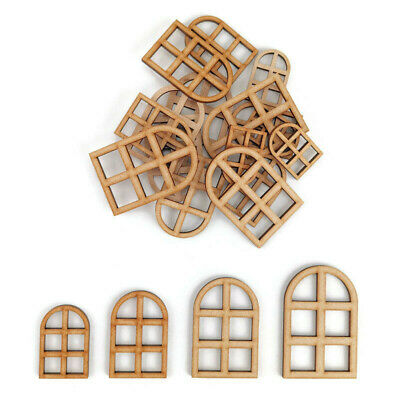 £2.15 • Buy House Window MDF Craft Shapes Wooden Blank Home Tags Decoration Embellishments