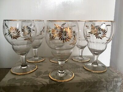 Set Of 6 Gold Decorated Vintage/Antique Glasses. Wine/water Goblets. Ex. Cond. • 25£