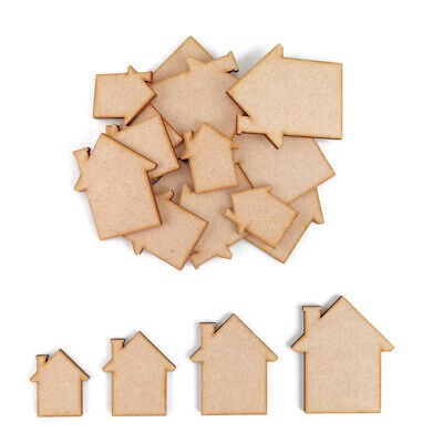 £2.45 • Buy House MDF Craft Shapes Wooden Blank Gift Tags Decoration Embellishments New Home