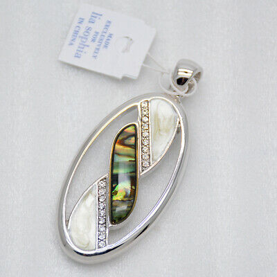 $ CDN9.21 • Buy Lia Sophia Jewelry Rhodium Plated Cut Crystals Abalone Shell Necklace Pendant