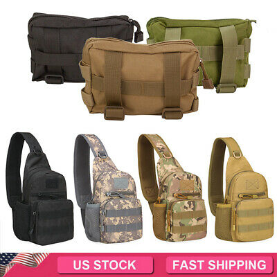 $13.39 • Buy Outdoor Tactical Sling Bag Military Backpack Pack / Small Molle Pouch Bag Belt