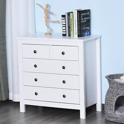 £104.99 • Buy Bedroom Home 5 Chest Of Drawers W/ Feet & Handles White