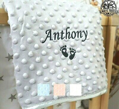 £13.99 • Buy Personalised Baby Blanket Embroidered Soft Bubble Italic Font Baby Boy Girl Gift
