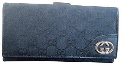 $225 • Buy Authentic GUCCI Black GG Pattern Canvas Leather Long Bifold Wallet 181598