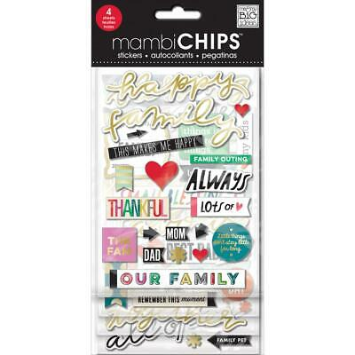 £6.99 • Buy MAMBI Chipboard Stickers - Happy Family With Gold Foil 4 Sheets