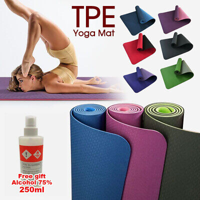 AU24.99 • Buy TPE Yoga Mat Non Slip Dual Layer Eco Friendly Exercise Fitness Gym Pilates AU