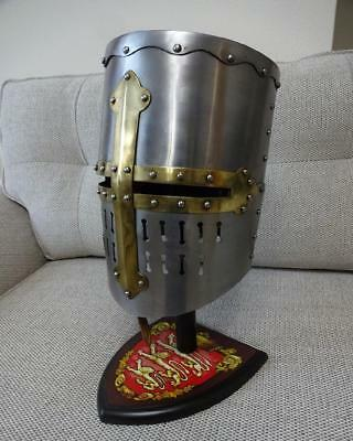 Crusader Great Helmet Medieval Armour For Re-enactment Stage LARP & Decoration • 79£