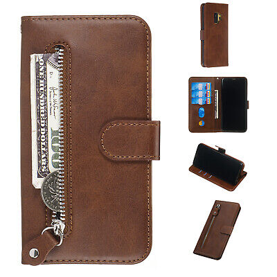AU11.93 • Buy Brown Premium Zipper Wallet With Card Holder Leather Cover Case Skin For Phone