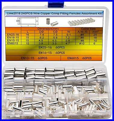 110PCS Wire Copper Crimp Fitting Ferrules 4Types Gauge AWG 4 2 1 2/0 Non Insulat • 19.09$