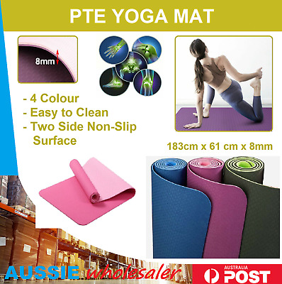 AU23.45 • Buy  TPE Eco Yoga Mat Exercise Fitness Gym Pilates Non Slip Dual Layer Sports AU